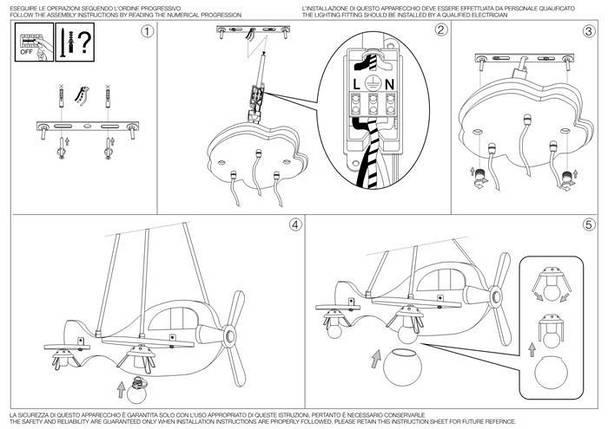 Подвесной светильник Ideal Lux Avion 2 SP3 Rosso Verde (136318), фото 2