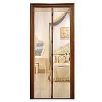 Москитная сетка на магнитах антимоскитная штора на дверь Magic Mesh Коричневая