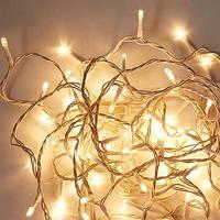 Уличная Гирлянда светодиодная нить, 20 м, 200 led белый каучуковый провод - цвет тепло-белый