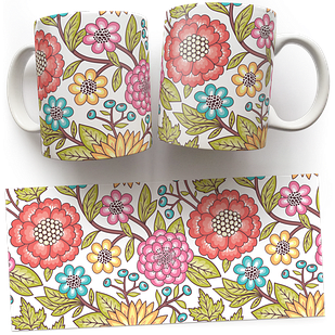 Чашка, Кружка Красные Цветы (растения, цветы, флора, узоры)