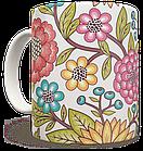 Чашка, Кружка Красные Цветы (растения, цветы, флора, узоры), фото 3