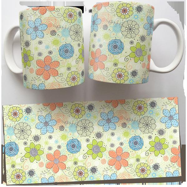 Чашка, Кружка Нежные Цветы (растения, цветы, флора, узоры)