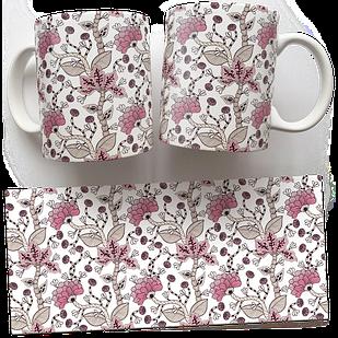 Чашка, Кружка Какие-то Розовые Цветы (растения, цветы, флора, узоры)