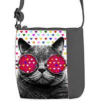 Серая сумочка для девочки Mini Miss с принтом Кот в очках