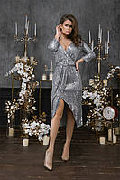 Женское платье пайетка на трикотажной основе черный золото серебро 42 44 46, фото 1