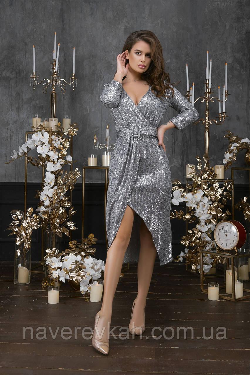 Женское платье пайетка на трикотажной основе черный золото серебро 42 44 46