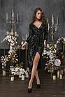 Женское платье пайетка на трикотажной основе черный золото серебро 42 44 46, фото 2