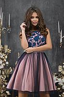 Женское платье гипюр габардин сетка фрез синий розовый 42 44 46, фото 1