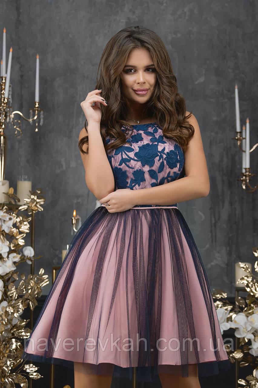 Женское платье гипюр габардин сетка фрез синий розовый 42 44 46