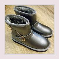 Женские кожаные угги серебро змейка, фото 1