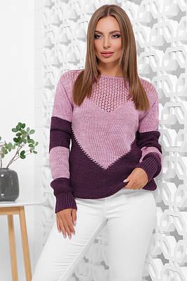 Женский вязаный полушерстяной сиреневый свитер