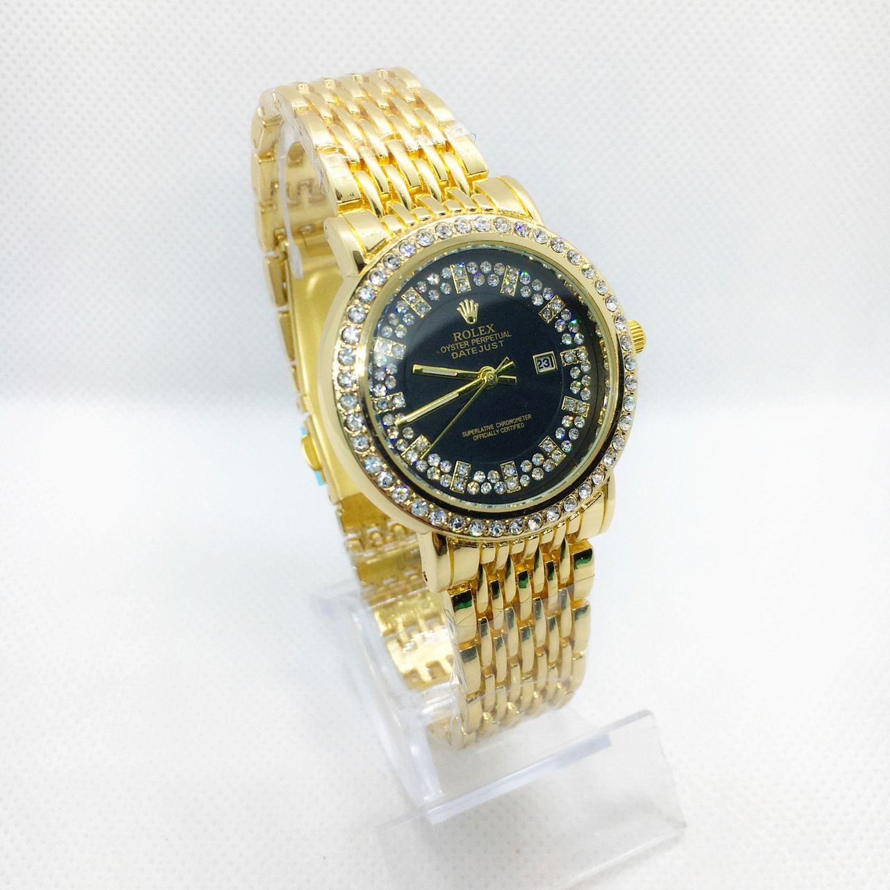 Женские наручные часы Rolex (Ролекс), золото с черным циферблатом