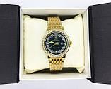 Женские наручные часы Rolex (Ролекс), золото с черным циферблатом, фото 6