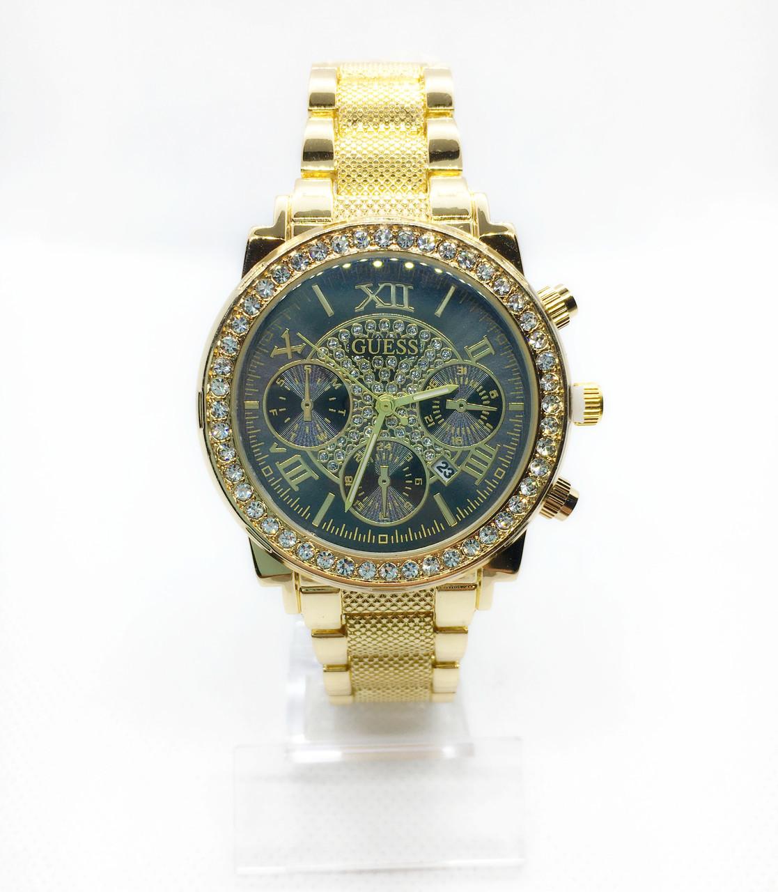 Женские наручные часы Guess (Гесс), золото с черным циферблатом