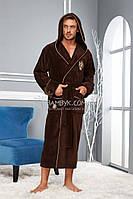 NS-2975 Nusa мужской халат с капюшоном (коричневого цвета) премиум класса