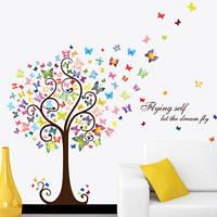Декоративная  наклейка дерево с бабочками  (130х98см)