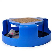 Когтеточка-игрушка для кошек и котят Cat & Mouse Chase Toy с мышкой синий цвет, фото 2
