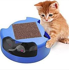 Когтеточка-игрушка для кошек и котят Cat & Mouse Chase Toy с мышкой синий цвет, фото 3