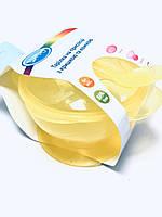 Тарелка на присоске с крышкой и ложкой желтый Lindo Рк 034