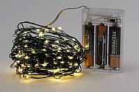 Гирлянда на батарейках 10м, 100 led новогодние украшения для декора, цвет тепло-белый, провод зеленый