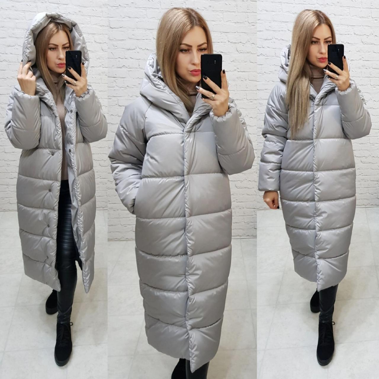Пальто куртка Oversize зима, артикул 521, колір сірий перламутровий