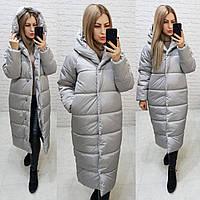 Пальто куртка Oversize зима, артикул 521, цвет перламутровый серый