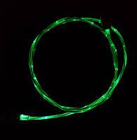Светящийся кабель синхронизации шнур для зарядки телефона HLV USB – microUSB 1 м Green