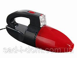 Автомобильный вакуумный пылесос для авто с фонариком Car Vacum Cleaner Red