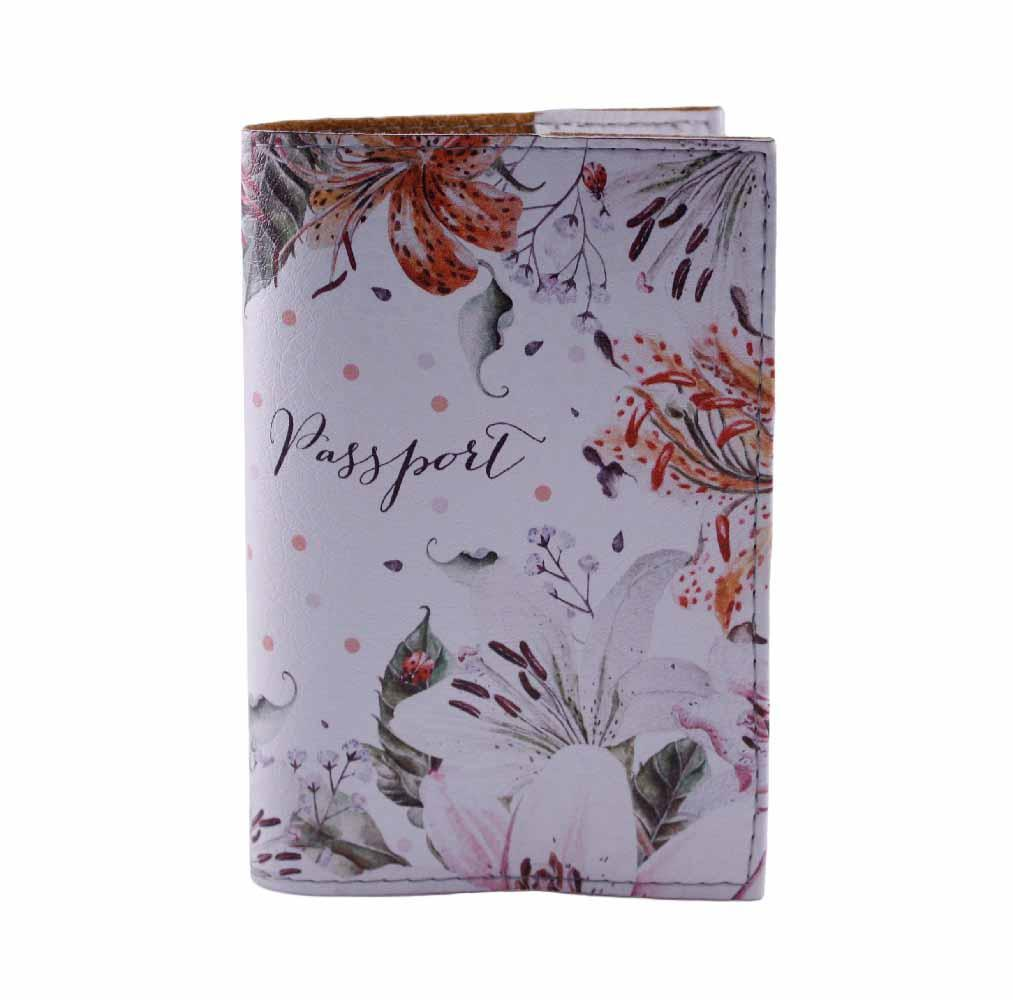 "Обложка на паспорт ""Орхидеи"", белый, экокожа"