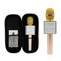 Беспроводной караоке микрофон колонка Bluetooth MagicMusic Q9 с чехлом Gold