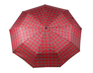 Зонт складной, автомат, 9 спиц, красный, клетка