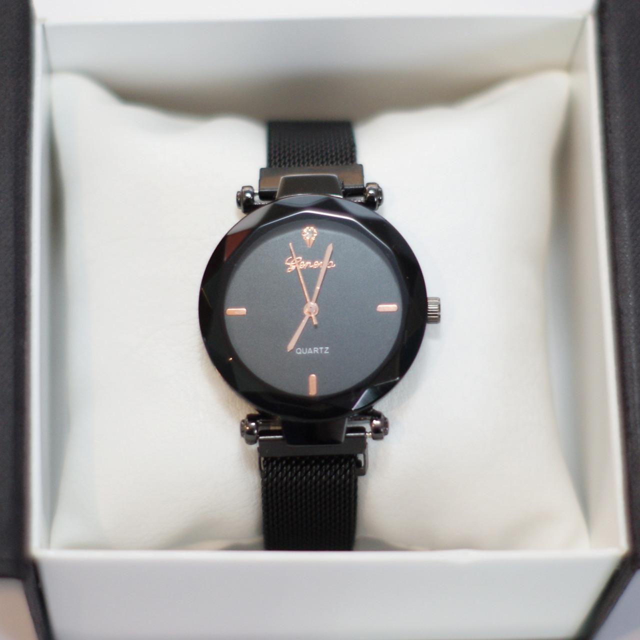 Женские наручные часы Geneva, черный корпус с черным циферблатом