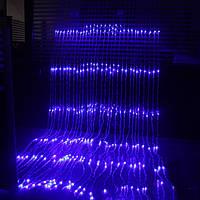 Уличная светодиодная гирлянда водопад 3х2м, синий 560 led, штора, занавес, цвет синий, есть переходник