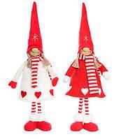 Мягкая новогодняя игрушка Девочка в колпаке 58см, красивый декор на Новый год, набор 2 шт
