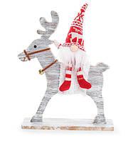 Новогодняя игрушка Санта на олене 29см, красивый декор на Новый год, набор 2 шт