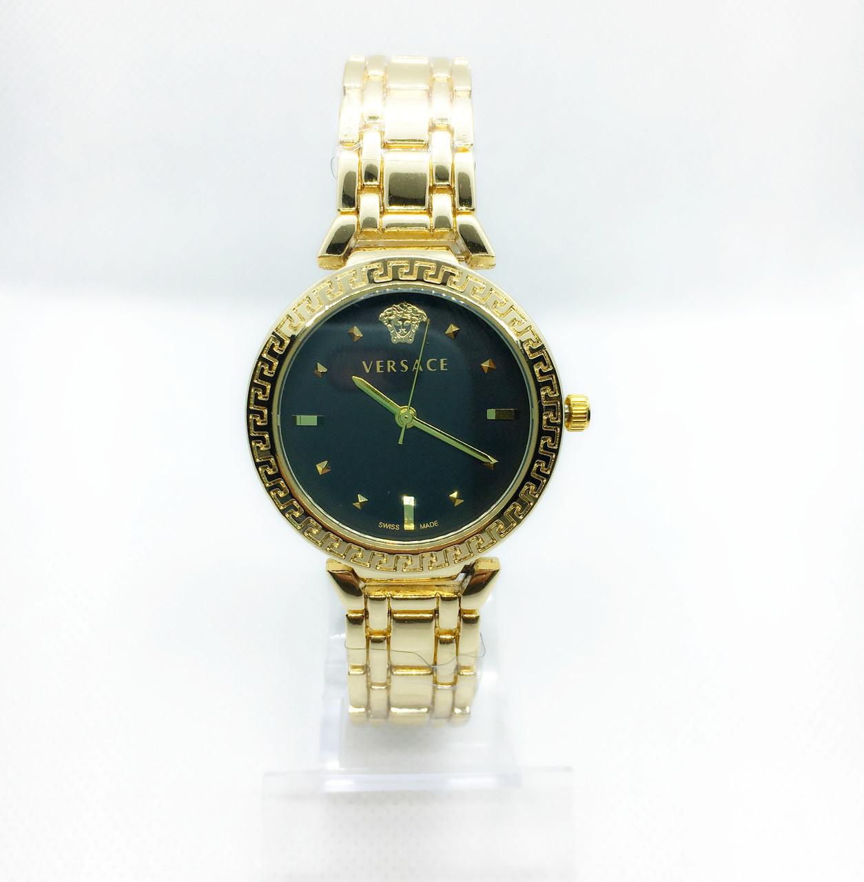 Женские наручные часы Versace (Версаче), золото с черным циферблатом
