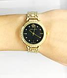 Женские наручные часы Versace (Версаче), золото с черным циферблатом, фото 5