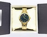 Женские наручные часы Versace (Версаче), золото с черным циферблатом, фото 6