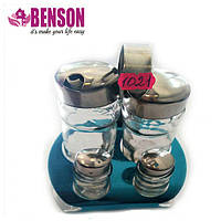 Набор соль/перец Benson BN-1021 | Набор для специй на подставке