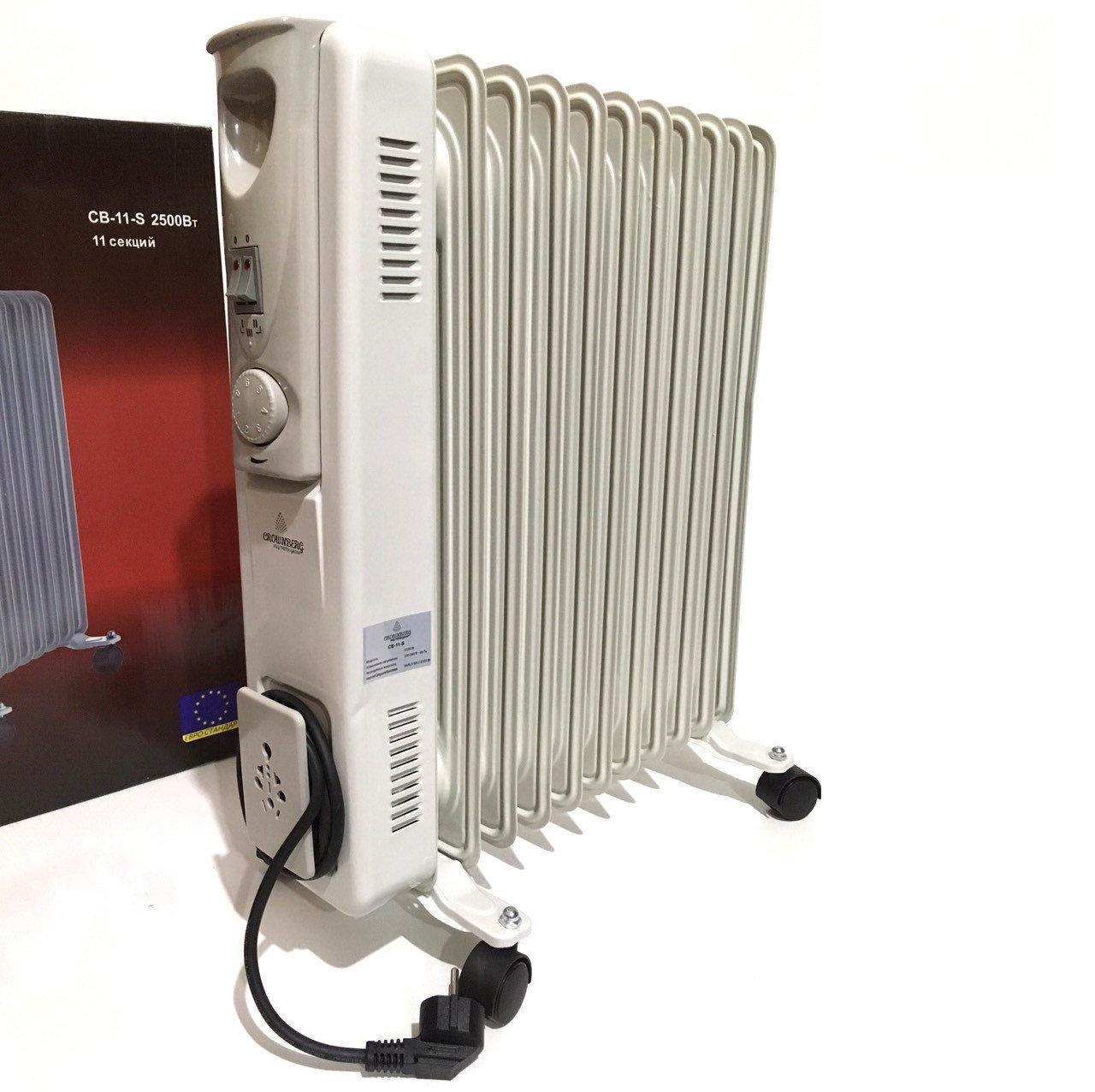 Обогреватель масляный Crownberg CB-11-S 2500W радиатор электрический на 11 Секций