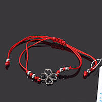 Браслет красная нить с серебром Клевер Aurora универсальный размер 75144