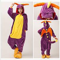 ✅ Пижама Кигуруми Динозавр фиолетовый (дракон спайро) S (на рост 148-158)