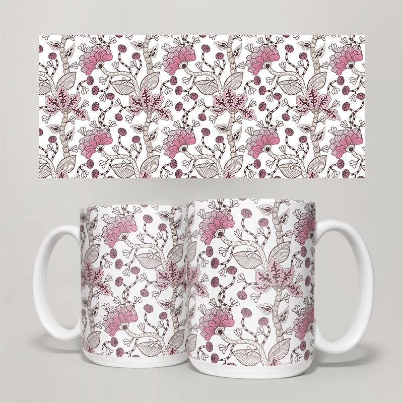 Чашка, Кружка Цветы №8 (растения, цветы, флора, узоры)