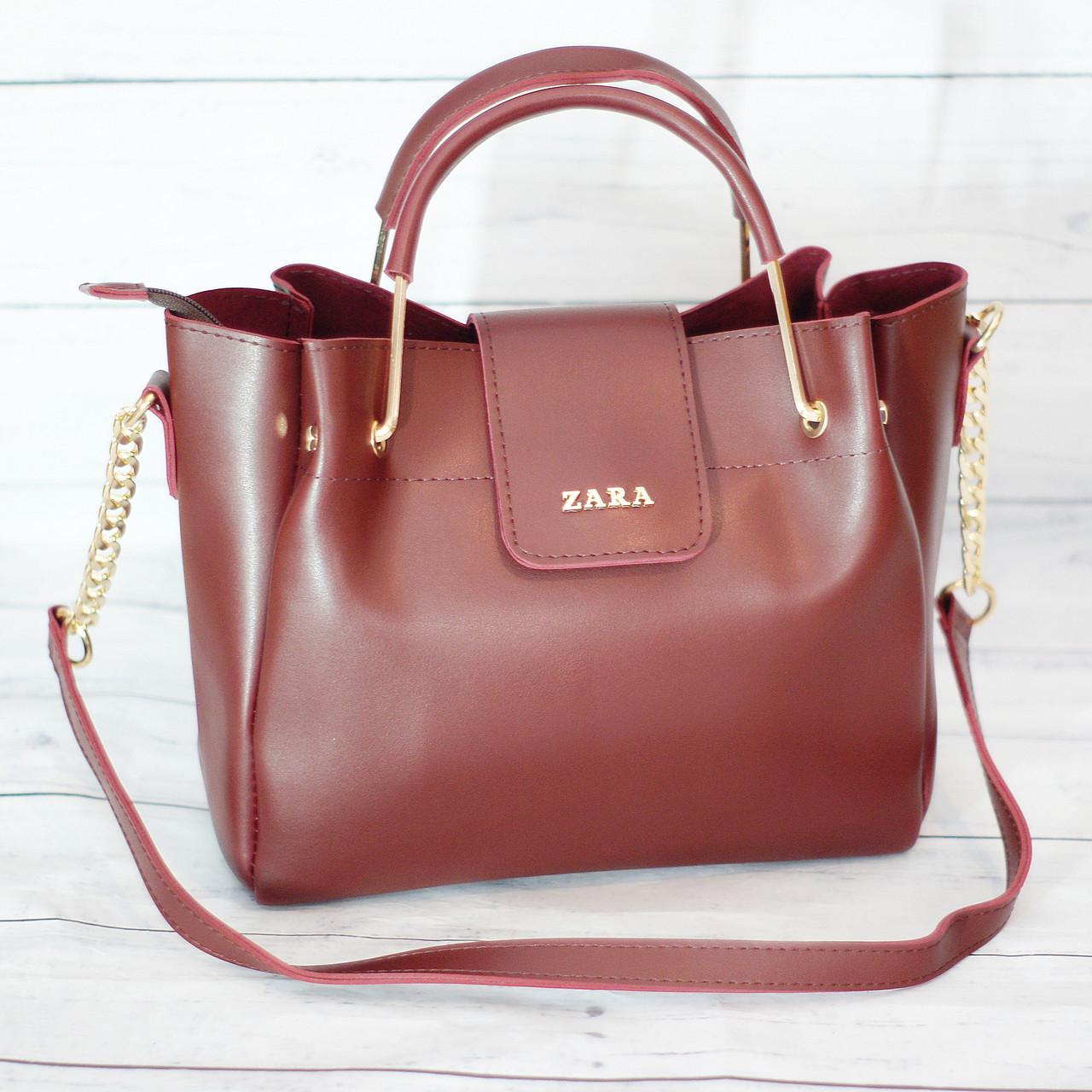 Женская mini сумка Zara, Зара, бордовая