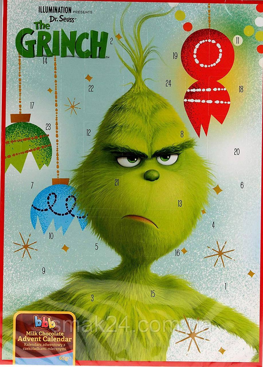 Шоколадный адвент календарь Grinch  65г Великобритания