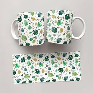Чашка, Кружка Монстера 2 (растения, цветы, флора, узоры)