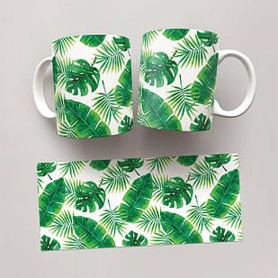 Чашка, Кружка Монстера 1 (растения, цветы, флора, узоры)