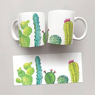 Чашка, Кружка Кактусы 3 (растения, цветы, флора, узоры)