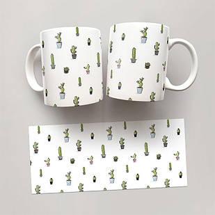 Чашка, Кружка Кактусы 2 (растения, цветы, флора, узоры)