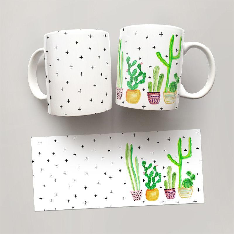 Чашка, Кружка Кактусы 1 (растения, цветы, флора, узоры)